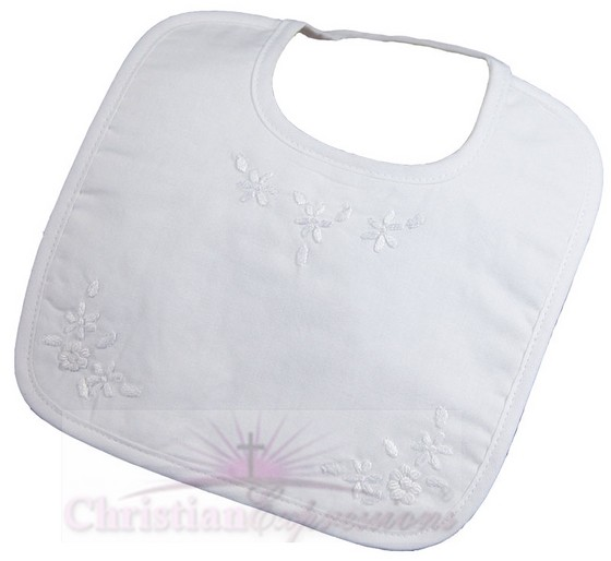Hand Embroidered Girls Cotton Christening Bib