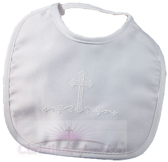 Boys Matte Satin Large Christening Bib with Cross