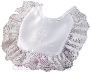 Girls Matte Satin Screened Cross Christening Bib