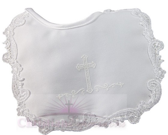 Satin Girls Christening Bib with  Cross and Lace Trim