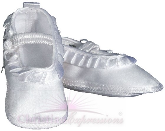 Girls Satin Christening Shoe with Pleated Ribbon