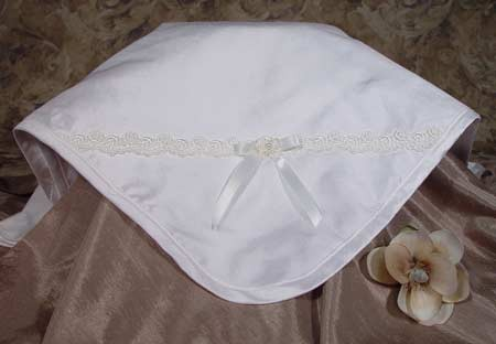 Silk Dupioni Christening Blanket with Venise Trim and Bow