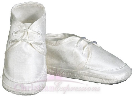 Boys Silk Dupioni Christening Shoes