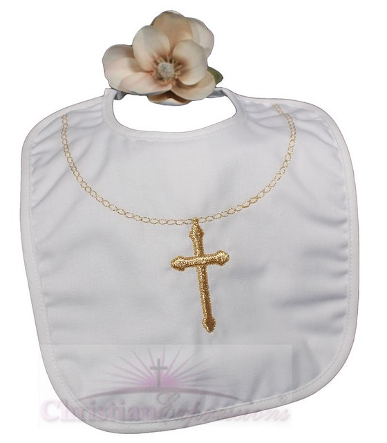 Christening Bib With Fancy Gold Cross & Chain