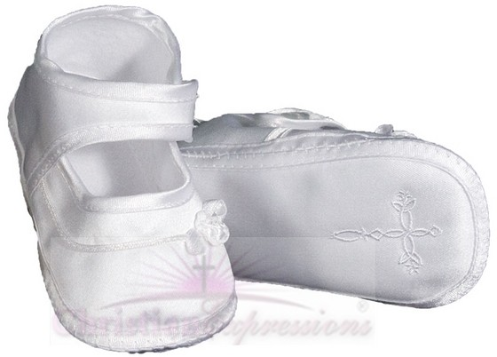 Girls Satin Christening Shoes with Celtic Cross
