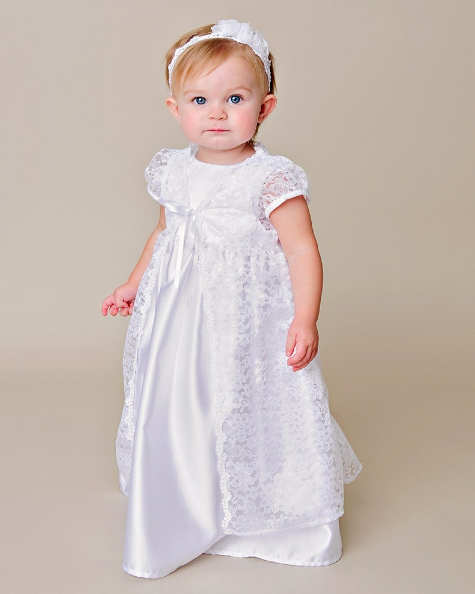 Girls Christening Gown with Lace over Jacket