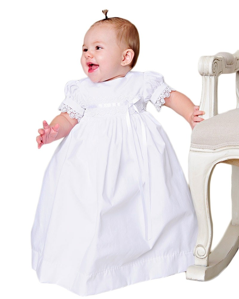 Girls Cotton Christening Dress with Venise Trim