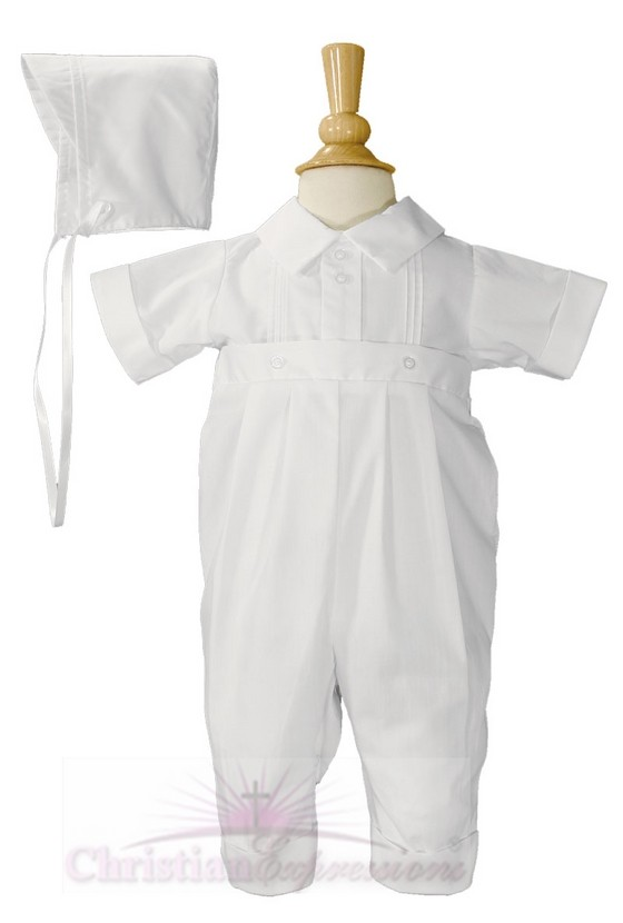 Boys Short Sleeve Baptism Rompers