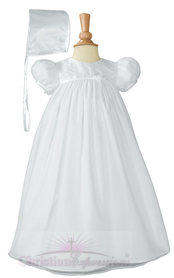 Girls Christening Gown with Embroidered Bodice
