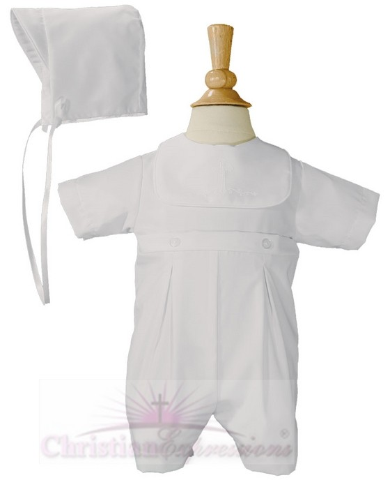 Boys Christening Romper with Cross