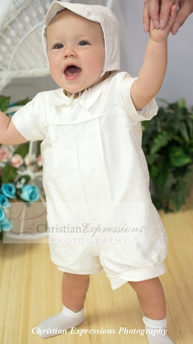 Boys Silk Christening Rompers
