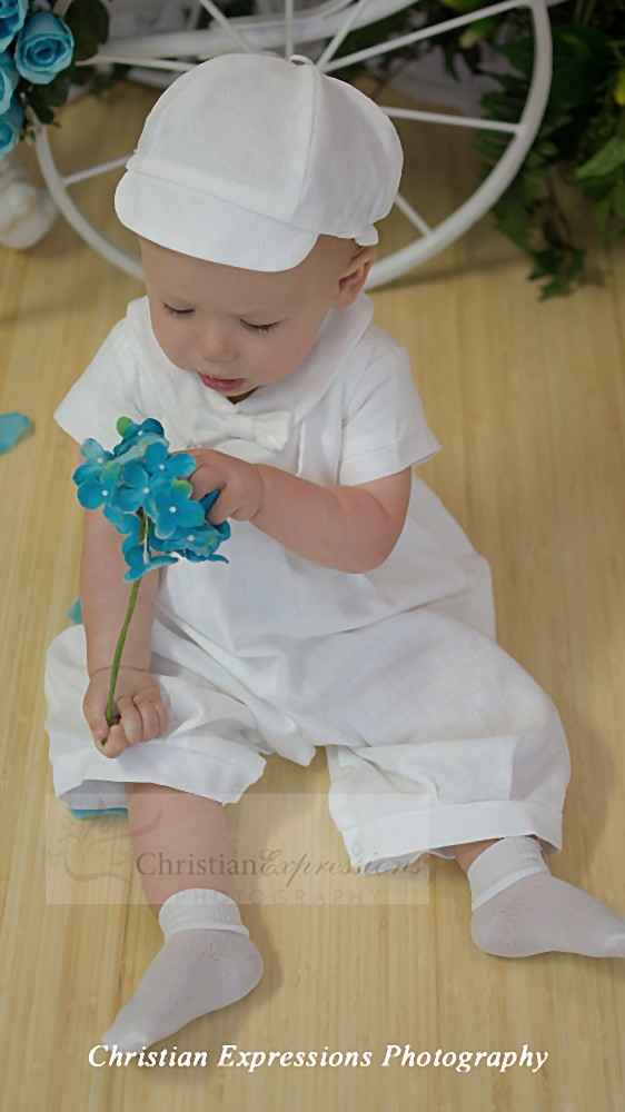 Boy Poly Cotton Long Romper with Sewn-on Vest for Christening with Matching Hat