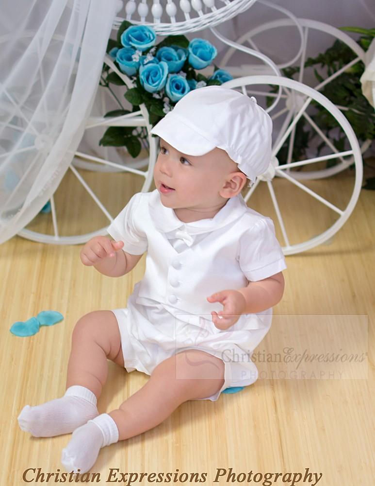 White Christening Romper for Baby Boy | White Baptism Rompers for ...