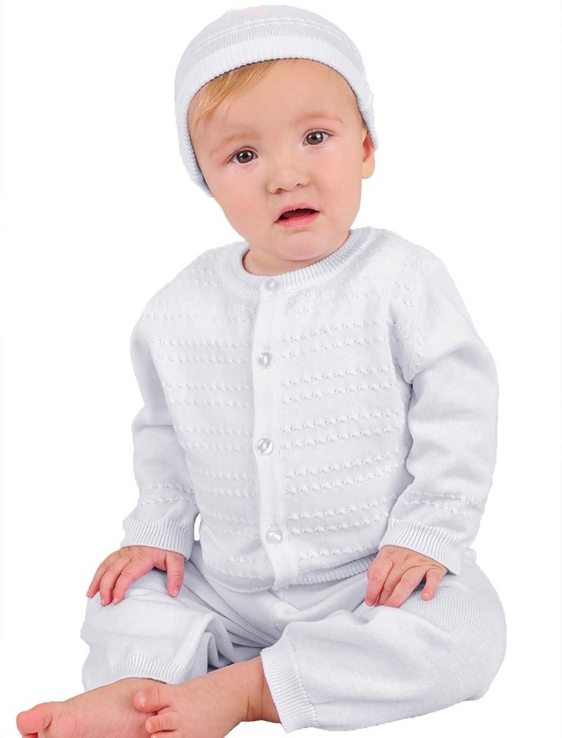 Boys Cotton Long Sleeve Christening Cardigan Set