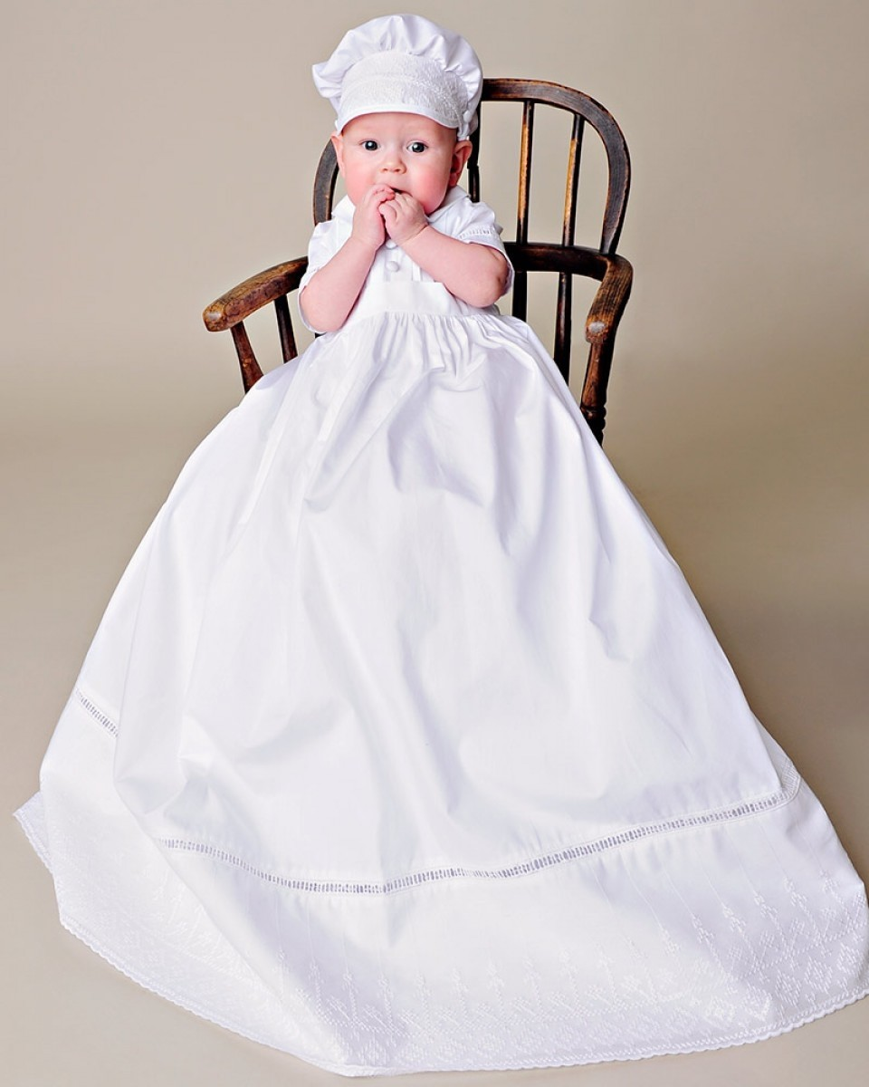 Boys Christening Gown with Cross Stitch Embroidery