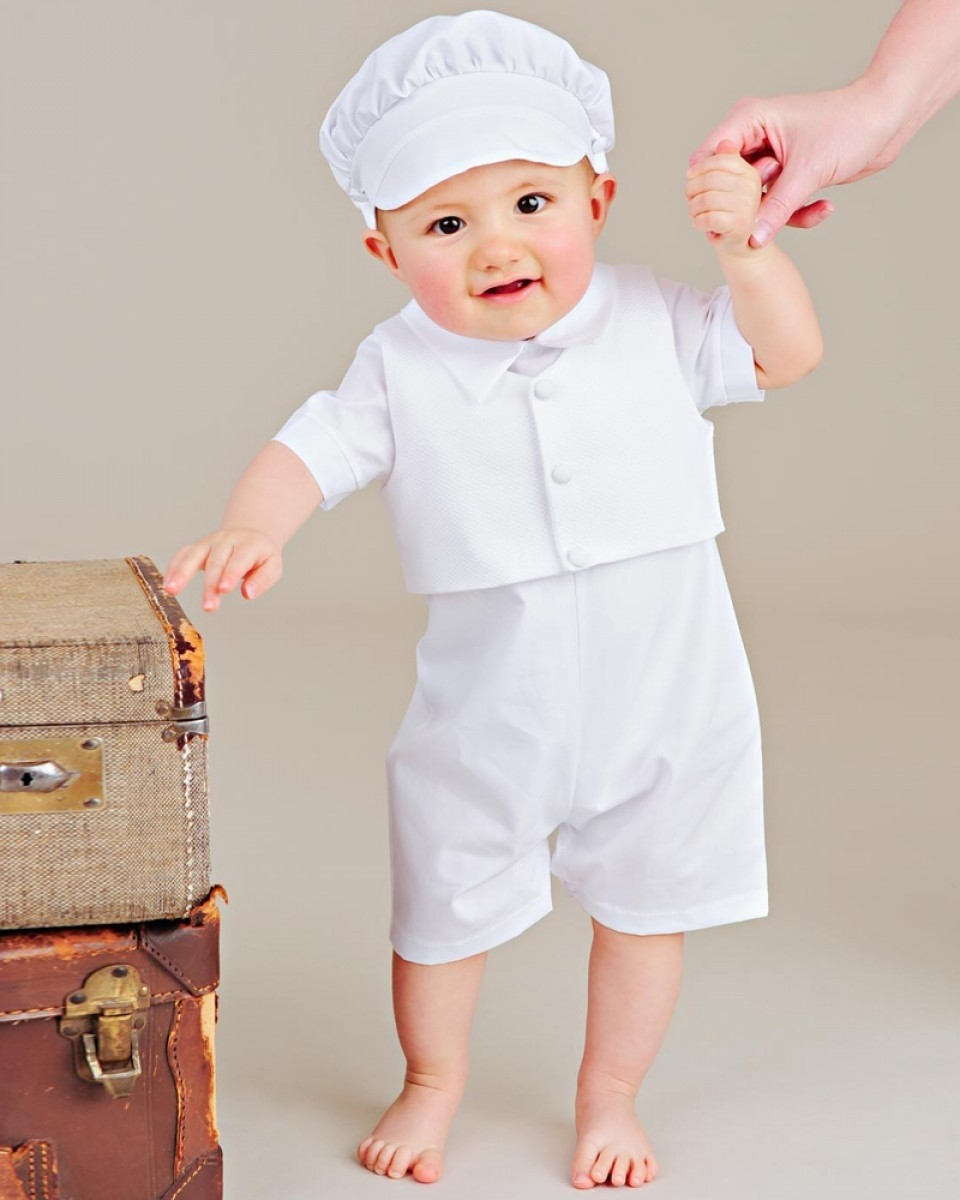 Boys Textured Cotton Christening Baptism Outfit