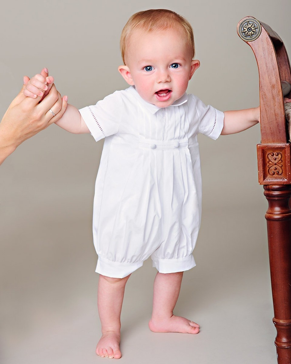 Boys Cotton Christening Romper with Hat