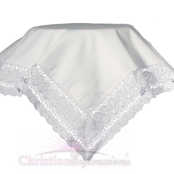 Girls Cotton Christening Blankets with Lace Trim