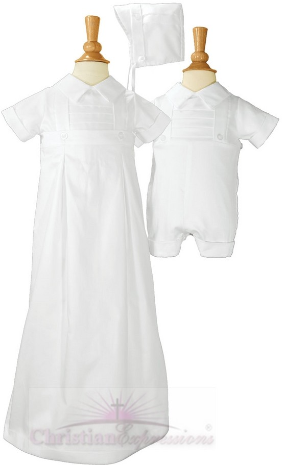 Boys Christening Romper - Gown Convertible Set