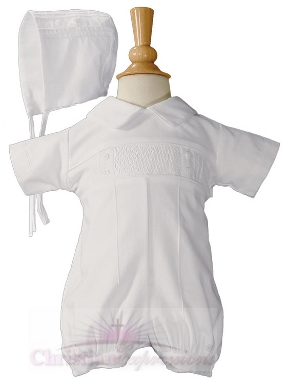 Boys Cotton Pintucked Christening Romper