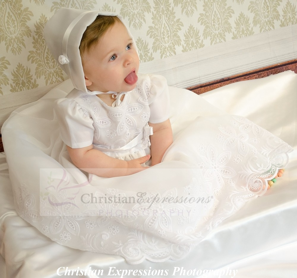 Organza Eyelet Christening Gowns