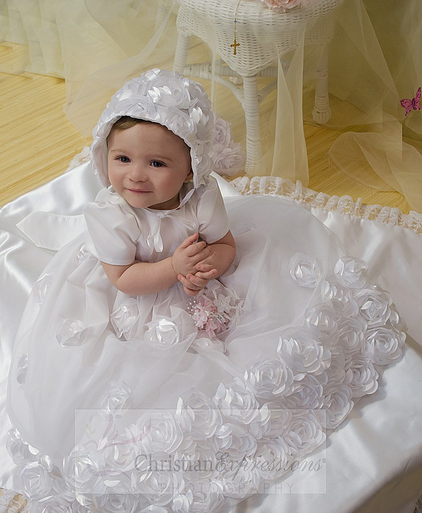 Floral Christening Gowns for Sale | Tulle Baptism Gowns for Baby ...
