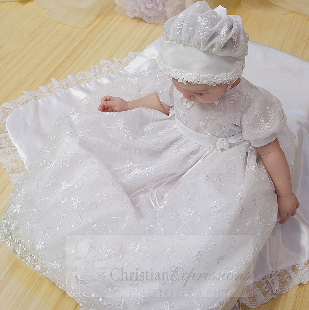 Girls Embroidered Organza Christening Gowns