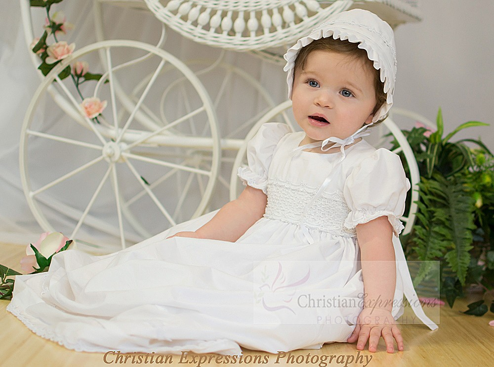 Plain Cotton Christening Gowns for Girls