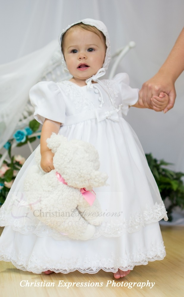 girls satin christening gown style 2190