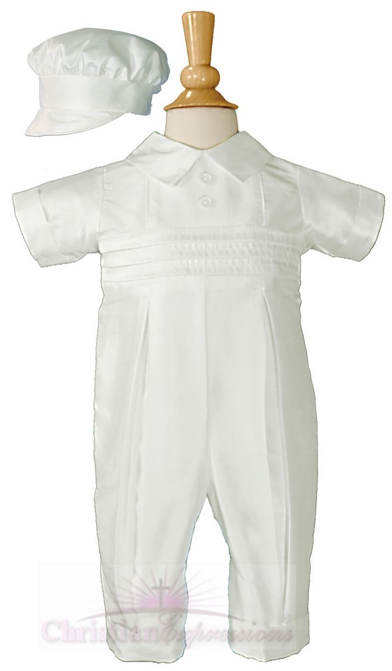 Boys One Piece Silk Christening Outfits