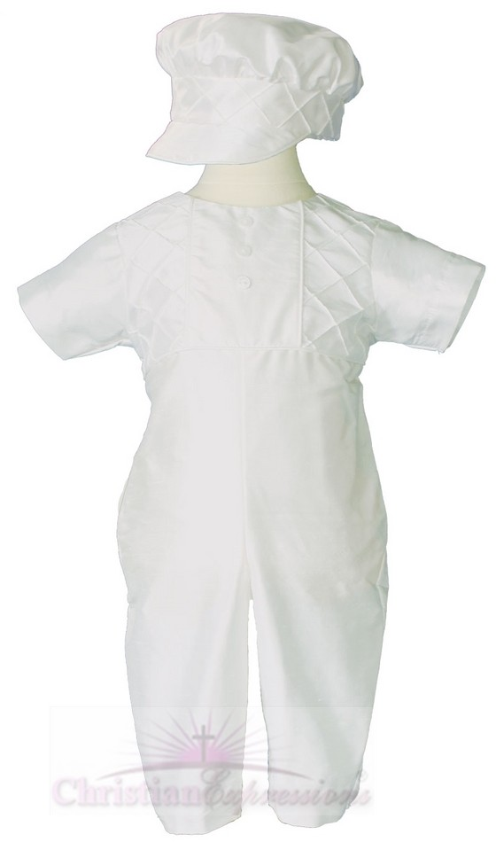Boys Short Sleeve Silk Christening Suits