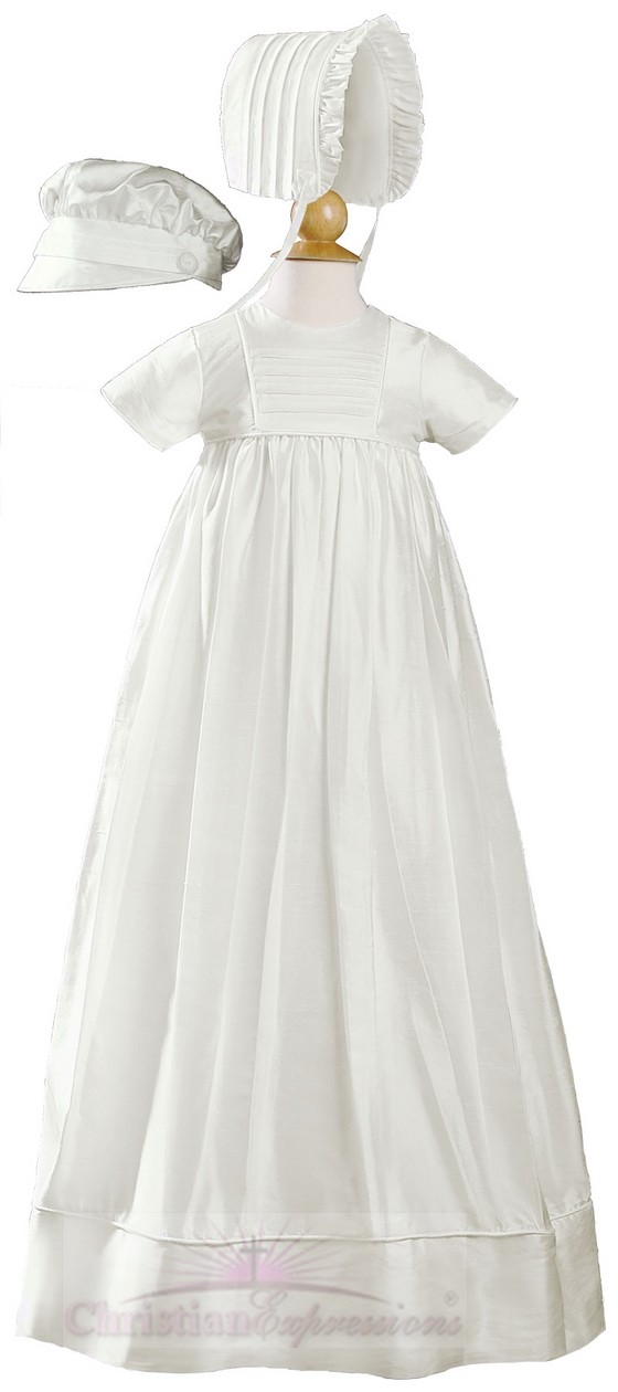 Unisex Dupioni Silk Short Sleeve Christening Gown