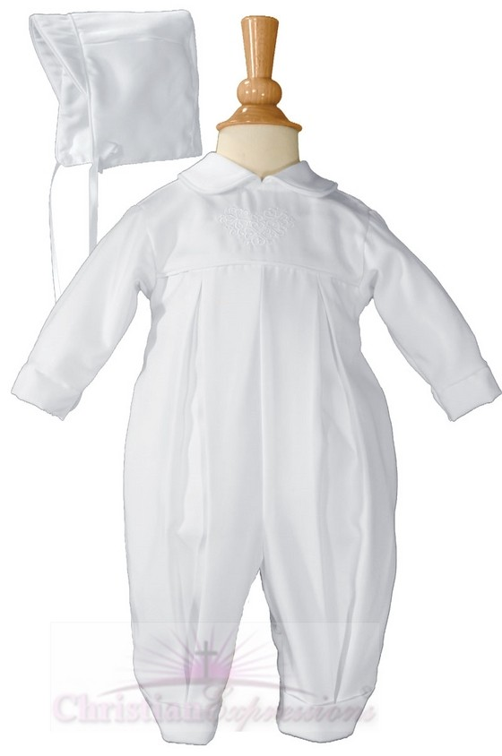 Boys Irish Christening Coverall with Shamrocks
