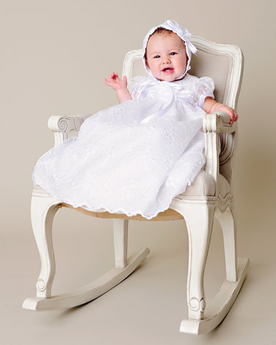 Girls Christening Dress with Glittery Floral Organza