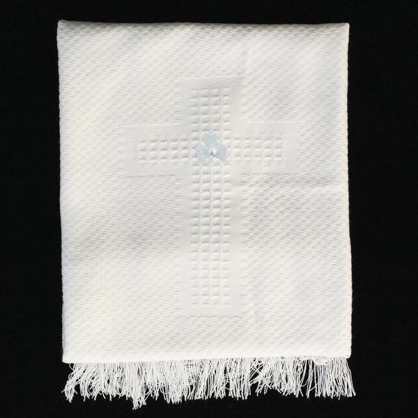 Irish Shamrock Christening Blanket with Embroidered Cross