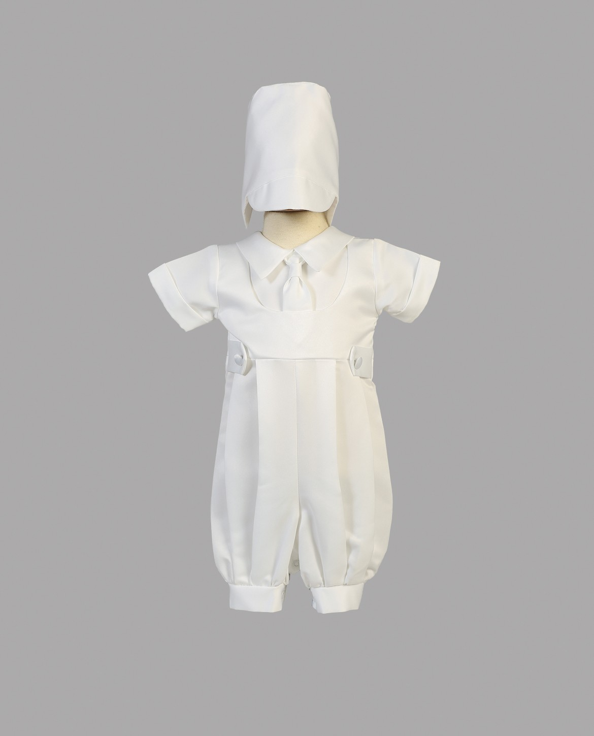 Boys One Piece Satin Christening Romper