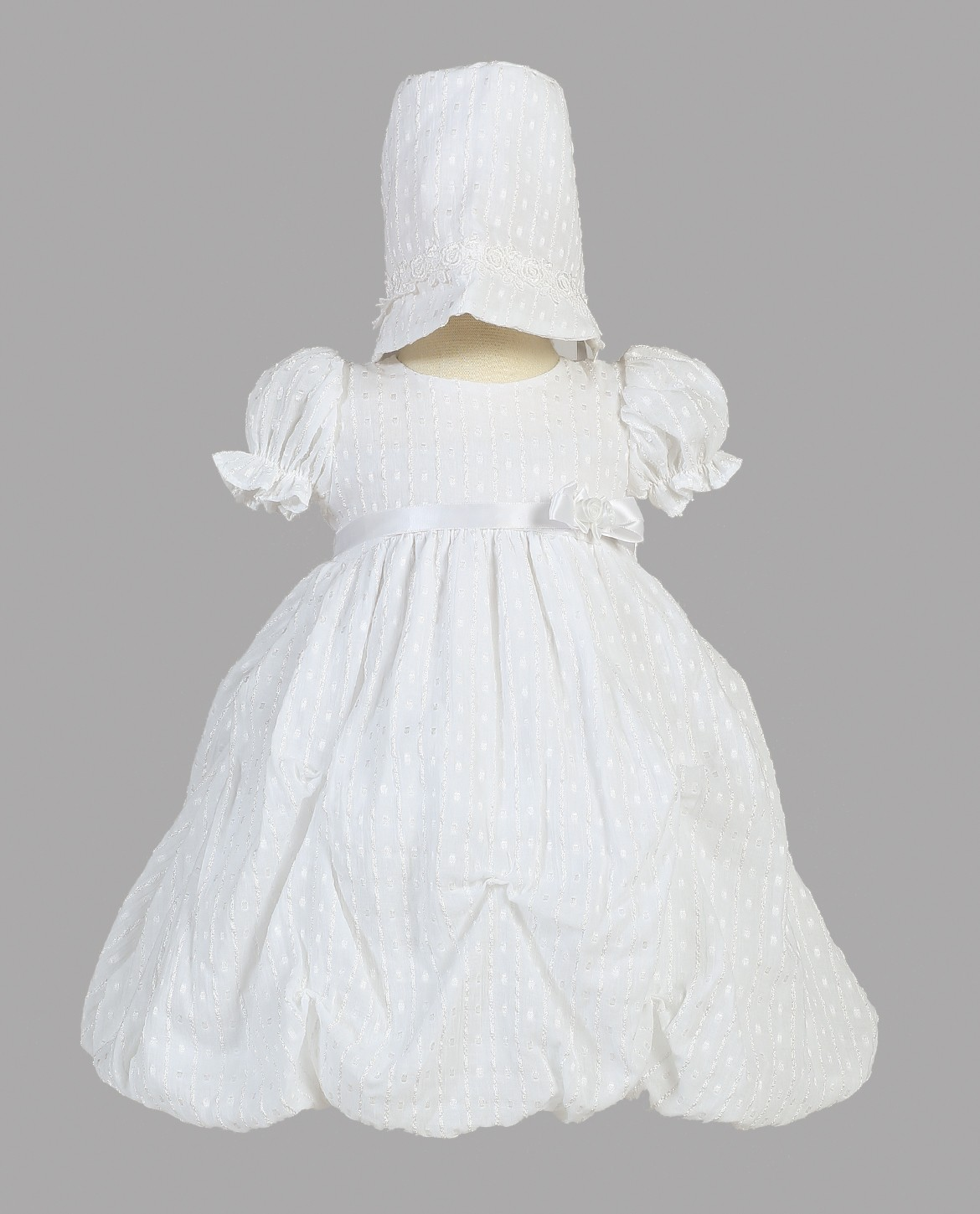 Girls Short Cotton Gathered Christening Dress