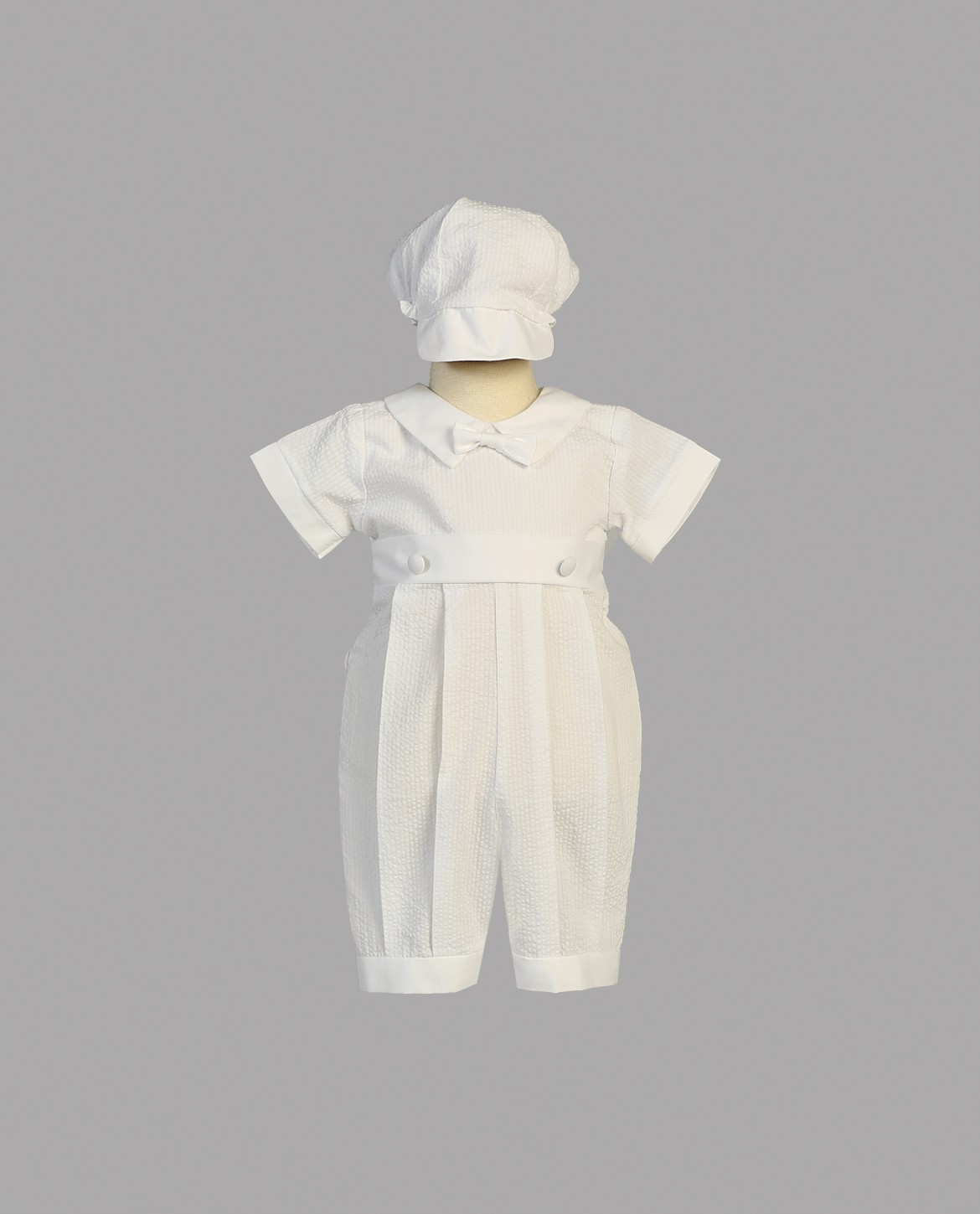 Boys Seersucker One Piece Christening Romper