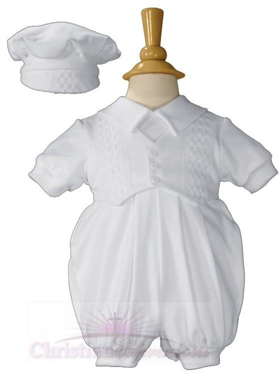 Short White Boys Celebration Set with Hat