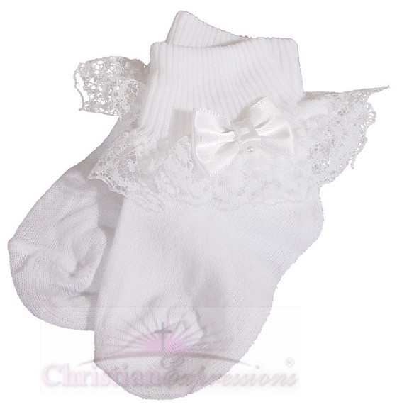 Girls White Christening Socks with Satin Bow and Pearl