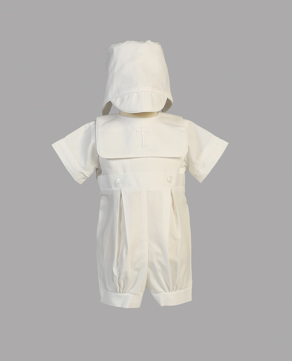 Boys Cotton Christening Romper with Embroidered Cross
