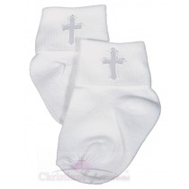 Boys White Christening Anklet Embroidered Cross