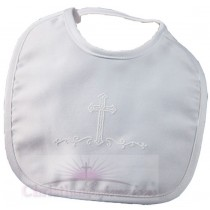 Boys Matte Satin Christening Bib with Cross