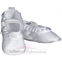 Girls Satin Christening Shoes with Pleated Ribbon