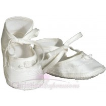Girls Silk Christening Shoes