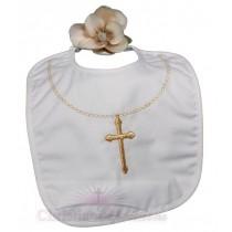 Christening Bib With Fancy Gold Cross & Chain