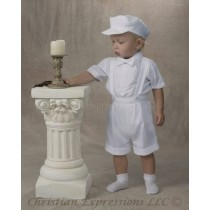 Boys Christening Shorts with Suspenders