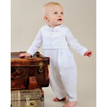 Boys Combed Cotton Christening Coverall 4 Pc Set