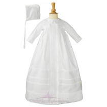Boys Cotton Christening Gown with Long Sleeves