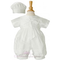 Boys Dupioni Silk Christening Romper Sailor Suit